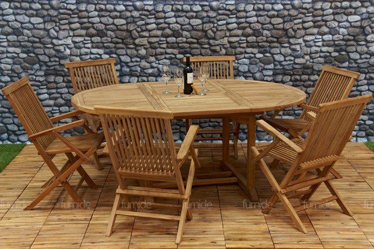 DREWNIANE Meble Ogrodowe TEAK Stół + 6 Krzeseł HIT  3385944467