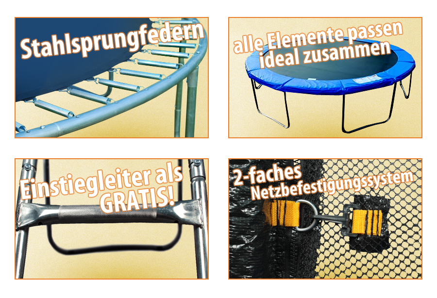 trampolin funfit 244cm 2 4m gartentrampolin ce inkl netz und leiter neu ebay. Black Bedroom Furniture Sets. Home Design Ideas